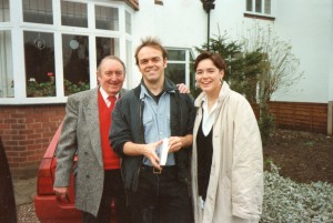 Dad, me and Mum outside our Wolverhampton house