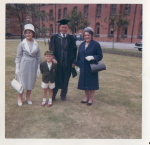 Auntie Nancy and Gran , me at 3 and Dad getting his MA degree! Birmingham University 1960