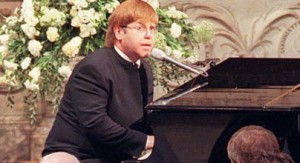 Elton John at Diana's funeral