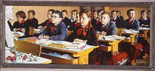 dinner at school. Soviet_classroom-rockwell