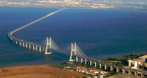 Vasco da Gama bridge Lisbon, we overlooked this bridge on the night of the Barcelona v Inter Milan Champions League semi final while having a lovely meal hosted by