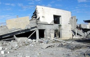 Remains of American International School in Gaza