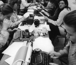 Students typing out their demands on typewriters brought it by supporters of the strike