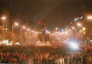 on the night of November 24th 1989, a photo I took in Prague in Wenceslas Square